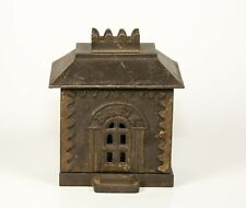 Vintage Antique Cast Iron Still Coin Bank Building 1800's Pin Type 4 Section