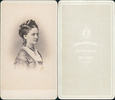 Hanfstaengel, Dresden, portrait de femme Vintage CDV albumen carte de visite