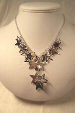 """shiny silver tone cutout + solid Star stars cluster 16"""" drop necklace Candie's"""
