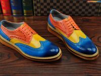 Men Flat Brogues Wing Tip Carved Lace Up Formal Multi Color Dress Oxfords Shoes