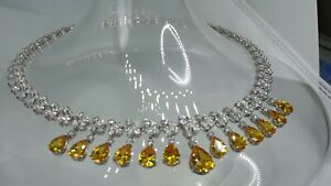 AAA QUALITY STERLING 925 SILVER JEWELRY TOP RICH YELLOW SAPPHIRE LADY NECKLACE