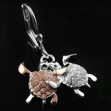 COUPLE TURTLE DANGLING ON LEVERBACKS ROSE GOLD ON STERLING SILVER EARRINGS