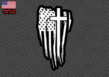 "American Flag Cross sticker decal - Christian Jesus 5"" (AmerCrossFlagFC5in)"