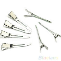 KQ_ 50pcs Silver Flat Metal Single Prong Alligator Hair Clips Barrette for Bows