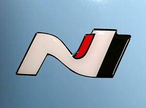 Pair Hyundai i30N Veloster Logo Epoxy Raised 3D Sticker Decal I30 N Turbo Race
