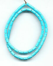 "SLEEPING BEAUTY TURQUOISE CYLINDER BEADS - 18"" Strand - 5X8MM - 222B"