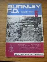 06/04/1968 Burnley v West Bromwich Albion  (Team Change, Rip On Back). Item In v