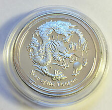 """2012 1 Ounce """"Year Of The Dragon"""" Coin Finished in 999 Fine Silver in Capsule"""