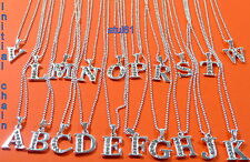 """INITIAL LETTER NAME PENDANT NECKLACE SILVER PLATED & CRYSTAL ON 18"""" CHAIN NEW"""
