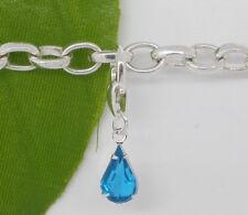 Azul de diamantes de imitación en forma de lágrima encanto para caber todos bracelets-new