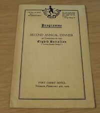 1919 Wwi Canadian 'Little Black Devils' 8th Battalion Dinner Programme/Menu~