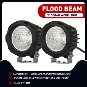 LED Driving Light 25W Motorcyle Motorbike Quad ATV Spot Pair Osram 3Inch Work