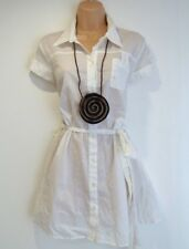 New Women's Vintage TU Cap Sleeve Long-line Fitted White Cotton Shirt UK14 UK16
