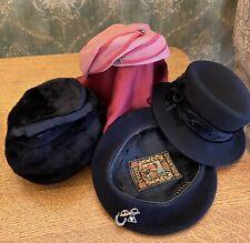 Lot Of Four Vintage Ladies Hats Chantaco Marshall Field Martha Original Betmar