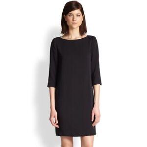 Vince Shift Dress Size 10 3/4 Sleeve Boat Neck Black Career