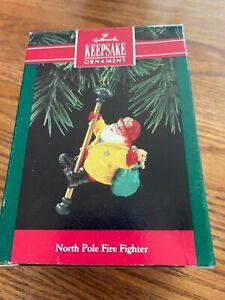 Hallmark 1992 Santa Claus North Pole Fire Fighter Christmas Tree Ornament