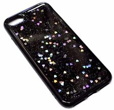 For iPhone 6 6S Silver Iridescent Hearts Glitter Black Soft Rubber Silicone Case