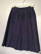 Vintage 60s Navy Wool Uniform Skirt Schoolgirl Pleated Junior Mates Of Boston XS