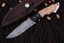 "Handmade Damascus Steel Black Horn Handle Fixed Blade Hunting Knife W/Case/9"""