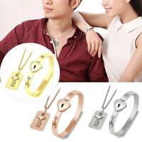 Paar Titan Stahl Liebe Herz Schloss Armband Armreif Schlüssel Anhänger Halskette