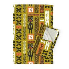 Tropical Tiki Hawaiian Summer Linen Cotton Tea Towels by Roostery Set of 2