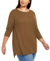 Style & Co Women's Seam-Front Tunic Sweater Brown Size 2 Extra Large