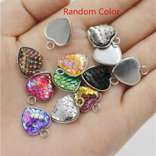 10x Heart Shaped Resin Metal Mermaid Fish Scale Charm Pendant Jewelry Gift 12mm