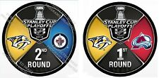 NASHVILLE PREDATORS PUCK SET 2018 1ST & 2ND ROUNDS STANLEY CUP PLAYOFF WINNIPEG