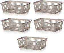 5x Whitefurze Plastic Nestable Handy Tidy Storage Basket Tray 25cm - Silver