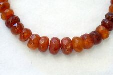 Butterscotch Amber Necklace - Faceted Round Bead - Honey Egg Yolk - Vintage