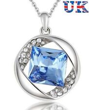 Beautiful Blue Crystal Pendant Necklace , CZ, Valentines Day - UK Seller