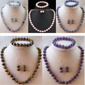 """10mm Amethyst/ Fluorite Gems Round Beads Necklace 18"""" Bracelet 7.5"""" Earrings Set"""