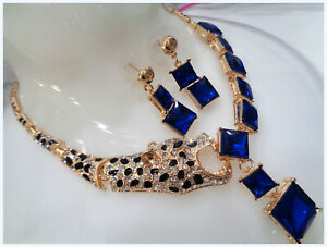 ITALIAN GOLD OVER HIGH GRADE BLUE SAPPHIRE NECKLACE EARRING SET COCKTAILL PARTY