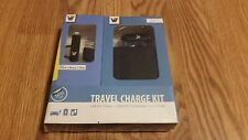 V7 2-IN-1 TRAVEL CHARGE KIT FOR IPOD, IPHONE, IPAD CAR CHARGER + POWERBANK