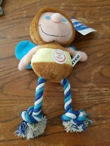 Vtg Petco Plush Toy for Dogs Bee? Fly? With Rope Squeaker CrinkleWings NWT Blue