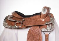 """USED 16"""" HAND CARVED CHESTNUT LEATHER SHOW WESTERN SILVER HORSE SADDLE"""