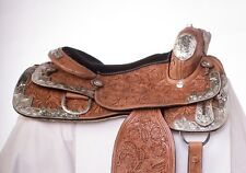 Used 16� Hand Carved Chestnut Leather Show Western Silver Horse Saddle