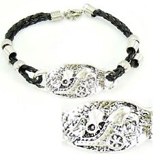 BRACELET tribal, gothique, acier, cordon, tête de mort, aigle, bijoux fantaisie