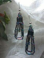 Black Opalescent Seed Bead Earrings Silver PlatedA2-1