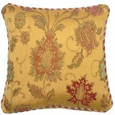 """FILLED LUXURIOUS TAPESTRY CHENILLE RED GOLD THICK PILLOW CUSHION 18"""" - 45CM"""