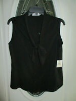 NWT Calvin Klein Blouse/Top Black Sleeveless Button Down Women's Medium $59