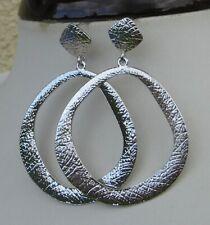 Ohrhänger/Ohrstecker Ring, gebürstete Struktur, 6 cm groß, silber-farben