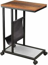 Side Table, C Shaped End Table with Metal Frame, Mobile Table with Mesh Shelf an