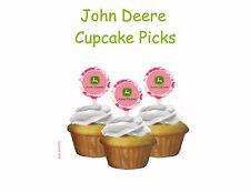 John Deere Cupcake Picks , Pink Camo Plastic, Birthday Party, Baby Shower -12p