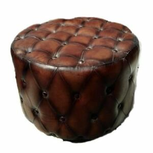 Indian Vintage Ottoman Brown Leather Button Pouf Round Floor Pouffe Footstool