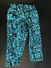 Womens Live Sports Capri Black Turquoise Leggings Size M