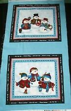 WINTER WISHES FABRIC PANEL - Snowman Family MINI WALL QUILT  Large Block Squares