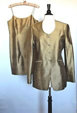 LIMITED 100% Pure Raw Silk Womens Shiny Olive Green Dress Suite Size 8