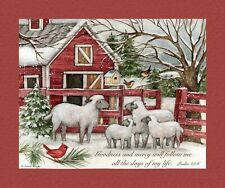 "Christmas Winget Lord Shepherd Sheep Cotton Fabric CP69600 36""X44"" Wall Panel"