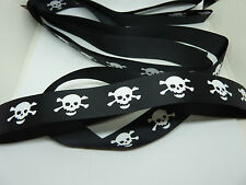 Black & White Skull SKeleton Print Grosgrain Ribbon 1m